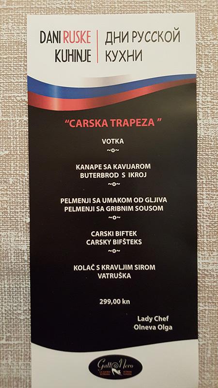 Dani ruske kuhinje - menu